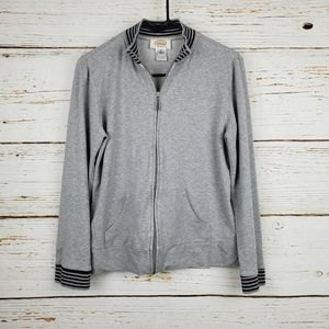 Talbots Heathered Grey Zip Front Sweatshirt